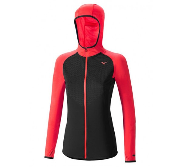CHAQUETA DE RUNNING MIZUNO MANGA LARGA BREATH THERMO BODY MAPPING HOODY WOS NEGRO-NARANJA